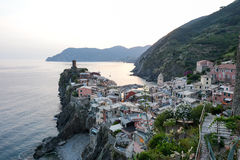 Scenic night view of village Vernazza Stock Photography
