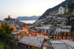 Scenic night view of village Vernazza Royalty Free Stock Photos