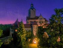 Czocha Castle at starry summer night, Lower Silesia, Poland stock photo