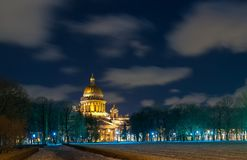 Scenic nightscape of St Isaac Cathedral in Saint Petersburg, Russia stock photo