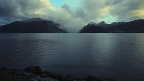 Scenic Norway Fjord Landscape with Little of Typical Afternoon Rain. Norway Fjords stock video