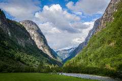 Scenic norway fjord mountains and river in canyon. Royalty Free Stock Photography