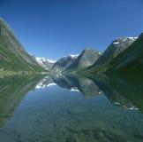Scenic Norwegian fjord. Scenic mountainous Norwegian fjord. Kjosnesfjord royalty free stock images