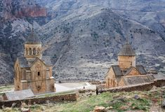 Scenic Novarank monastery. Noravank monastery was founded in 1205. It is located 122 km from Yerevan in a narrow gorge Stock Image