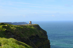 Scenic O`Brien`s Tower A Top the Cliff`s of Moher in Ireland Stock Photo