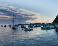 Scenic ocean, island sunrise, bay view of sailboats, yachts, fishing boats in Catalina Island harbor Royalty Free Stock Image