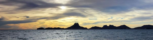 A Scenic Ocean Sunset View of Tetakawi Mountain and San Carlos,. A Scenic Ocean Sunset View of Tetakawi Mountain and San Carlos in Sonora, Mexico royalty free stock photo