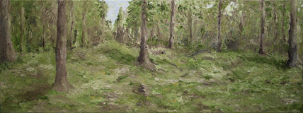 Oil painting of forest. Scenic oil painting of forest in countryside Royalty Free Stock Images