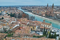 Scenic mediterranean city at river aerial view Royalty Free Stock Images