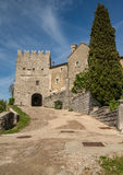 Scenic old city entry in Stanjel village in Slovenia royalty free stock photos