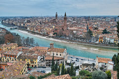 Mediterranean city at river panoramic view Stock Photography