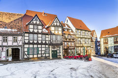 Scenic old half timbered houses in Quedlinburg Stock Images