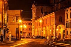Scenic old night street in Reggio Emilia Royalty Free Stock Photography