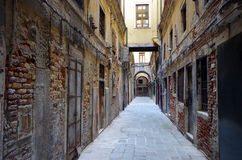 Scenic old streets in Venice, the lagoon of Italy Stock Images