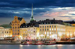 Scenic of the Old Town & x28;Gamla Stan& x29; architecture pier in Stockholm Royalty Free Stock Image
