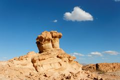 Scenic orange rock in shape of mushroom in stone d Royalty Free Stock Images