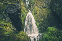 Scenic Oregon Mossy Waterfall Royalty Free Stock Photography