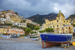 Scenic of original wooden boat in positano mediterranean sea sou Royalty Free Stock Image