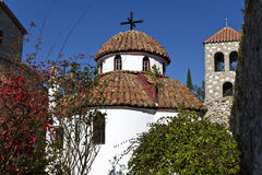 Scenic orthodox monastery at Greece Royalty Free Stock Photography