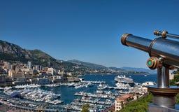 Scenic overlook, Monaco. A beautiful, scenic overlook above Monaco with tourist telescope in the foreground Stock Photo
