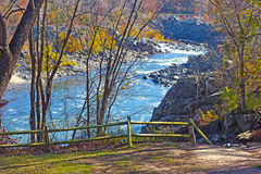 Scenic overlook on Potomac River in Great Fall National Park, Virginia US. Colorful foliage and blue waters of Potomac at park in the morning Royalty Free Stock Images