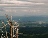 Scenic overlook Shenadoah National Park, Virginia. On a cloudy day with view to rural valley and distant mountains Stock Photo