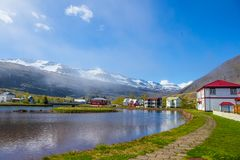 Seydisfjordur, Iceland. Scenic overlook of town of Seydisfjordur in Eastern Iceland and the fjord royalty free stock image