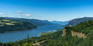 Scenic overlooking view at the Columbia River Gorge royalty free stock photo