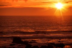 Scenic Pacific Ocean Sunset Royalty Free Stock Photos