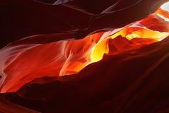 Scenic paint Antelope Canyon, Arizona, USA. The sun illuminates the upper vaults of Antelope Canyon, Arizona, USA royalty free stock images