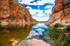 Scenic panorama of Glen Helen gorge in West MacDonnell National Park in central outback Australia. Scenic panorama of Glen Helen gorge in West MacDonnell royalty free stock photography