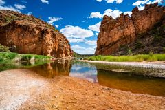 Scenic panorama of Glen Helen gorge in West MacDonnell National Park in NT Australia. Scenic panorama of Glen Helen gorge in West MacDonnell National Park in NT stock photo