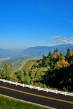 Scenic panorama from highway. Scenic panorama overlooking a valley with highway in foreground Royalty Free Stock Photo