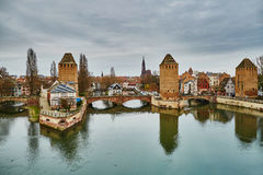 Scenic panorama of historical center of Strasbourg, France Royalty Free Stock Photos
