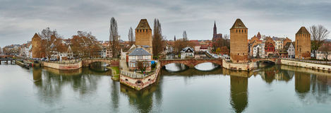 Scenic panorama of historical center of Strasbourg, France Royalty Free Stock Photography