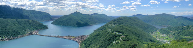 Scenic panorama landscape view at lake Lugano Stock Image