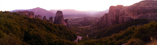 Scenic panorama Meteora Greece Stock Photography