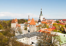Scenic panorama of the Old Town in Tallinn. Stock Photography