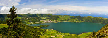 Scenic panorama of Sete Citades volcanic crater lake in Sao Miguel Stock Images