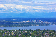 Scenic panorama of suburban Seattle with mountains range on a horizon. Stock Photography