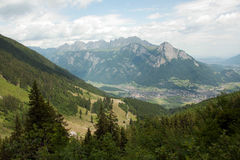 A scenic panorama of the Swiss Alps in summer on a sunny day Stock Photos