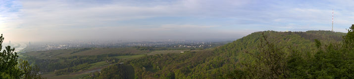 Scenic panorama of vienna with the suburbs and view to vineyards Stock Images