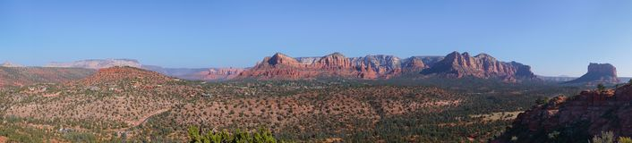 Panorma view from peak over arizona red dry desert landscape royalty free stock images