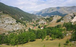 Scenic panorama view of a picturesque mountain village in Monten Royalty Free Stock Photos