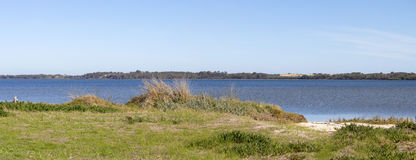 Scenic Panorama  from the walkpath along the Leschenault Estuary Bunbury Western  Australia . The panoramic view of the environment around the  shallow Stock Photos