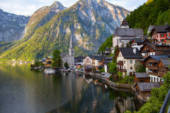Scenic panoramic picture-postcard view of famous Hallstatt mount Royalty Free Stock Image