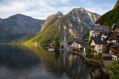 Scenic panoramic picture-postcard view of famous Hallstatt mount Stock Photography