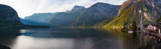 Scenic panoramic picture-postcard view of famous Hallstatt mount Stock Photo