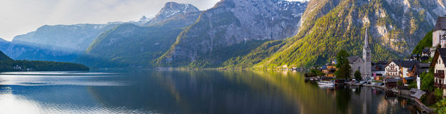 Scenic panoramic picture-postcard view of famous Hallstatt mount Stock Image