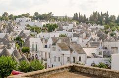 Scenic panoramic view of Alberobello and trulli buildings, Apuli Royalty Free Stock Photo